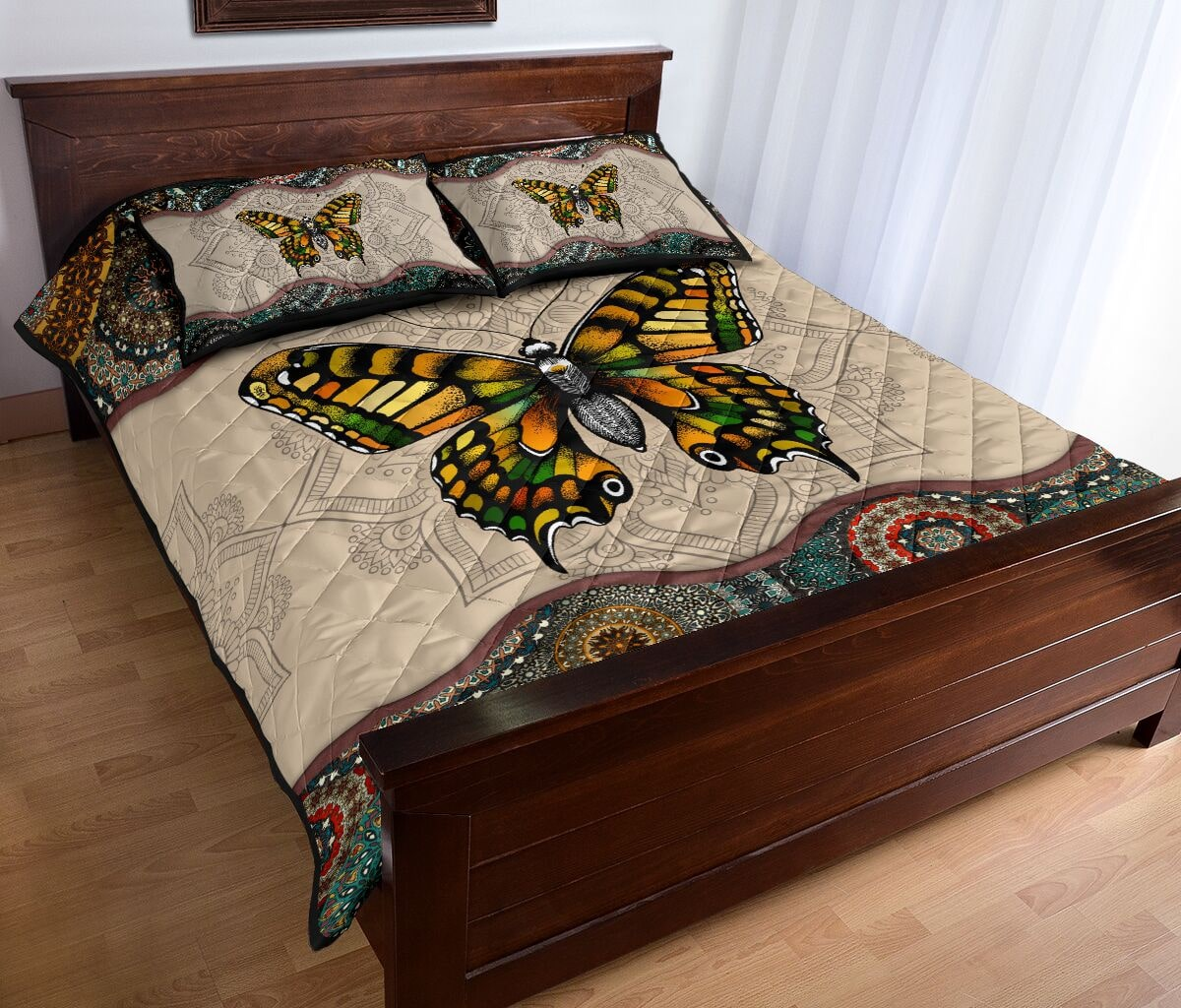vintage version butterfly full over print quilt 4
