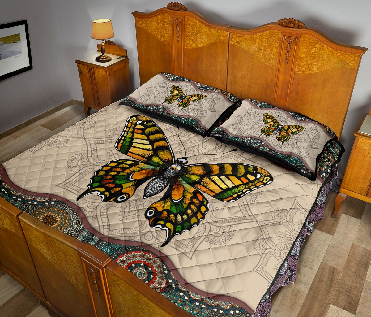 vintage version butterfly full over print quilt 5