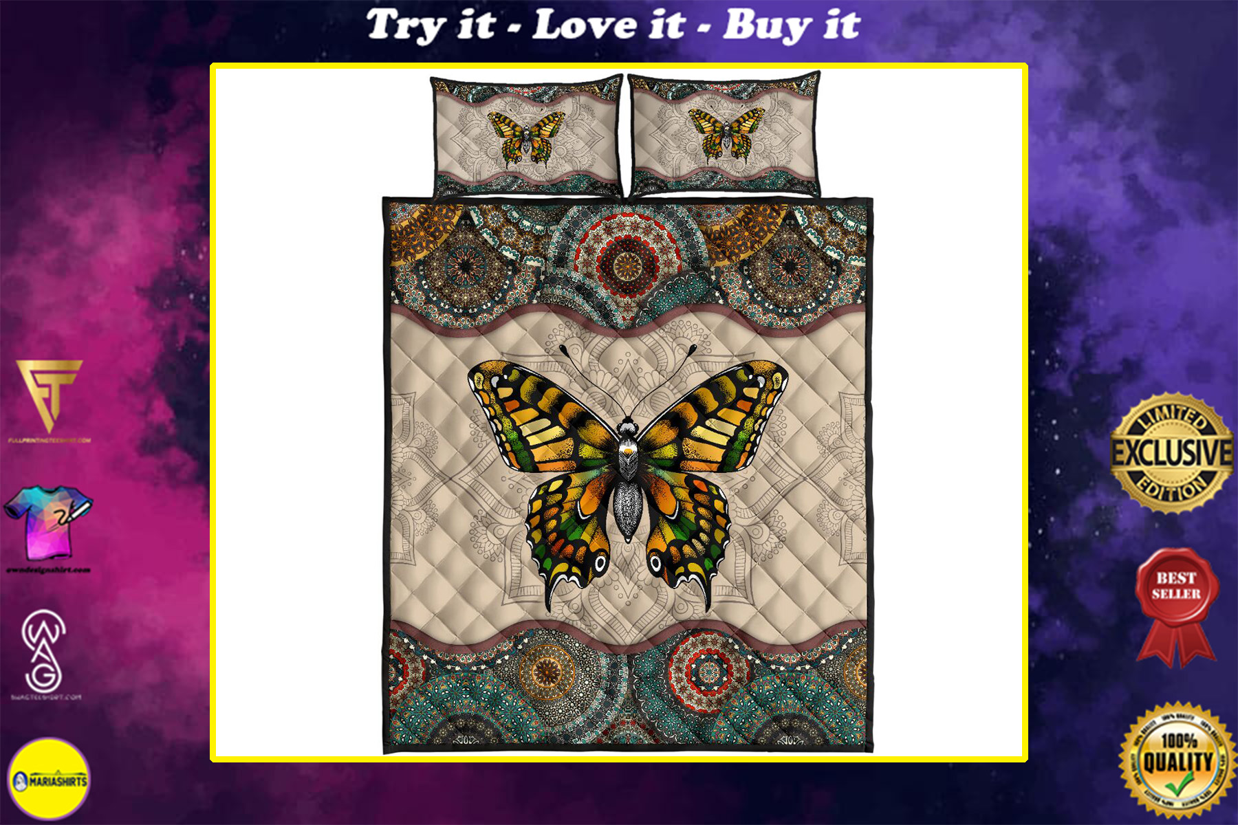 vintage version butterfly full over print quilt