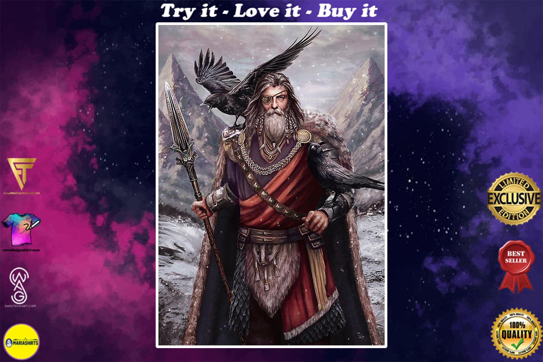 vintage viking odin and ravens poster