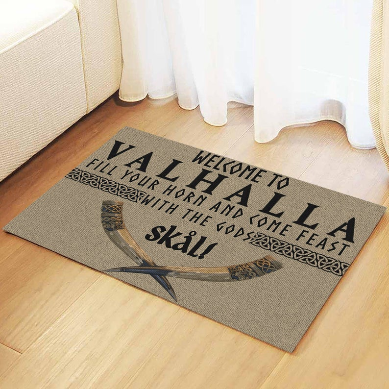vintage welcome to valhalla fill your horn and come feast with the Gods all over print doormat 2
