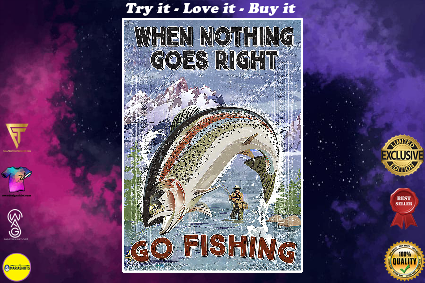 vintage when nothing goes right go fishing poster