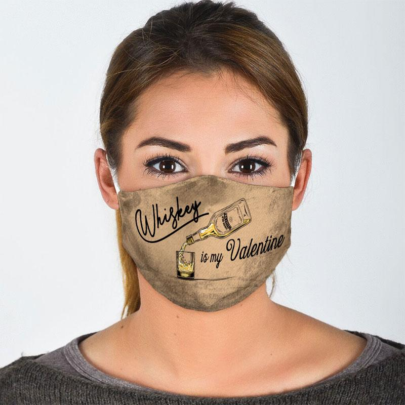 vintage whiskey is my valentine all over print face mask 2