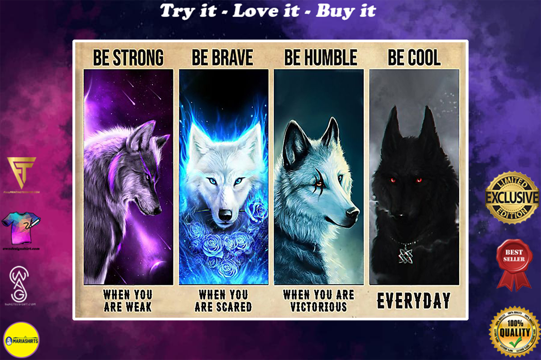 vintage wolf be strong when you are weak be brave when you are scared poster