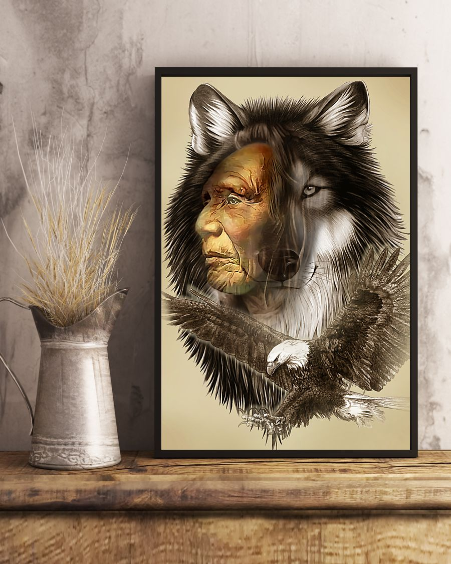 vintage wolf eagle chief native american poster 4