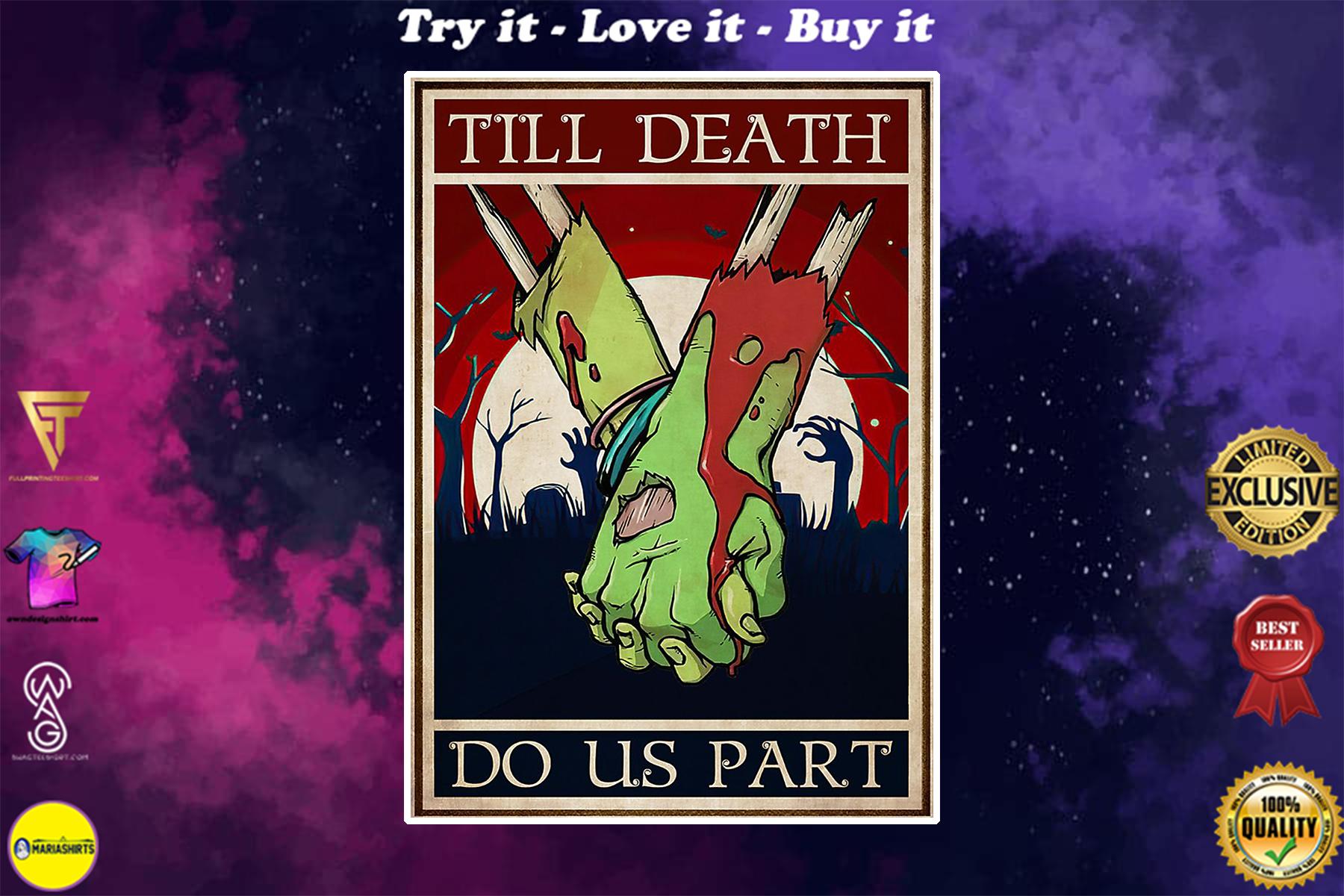 vintage zombie couple till death do us part poster