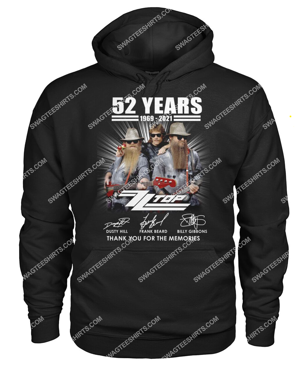 vintage zz top 52 years thank you for memories signature hoodie 1