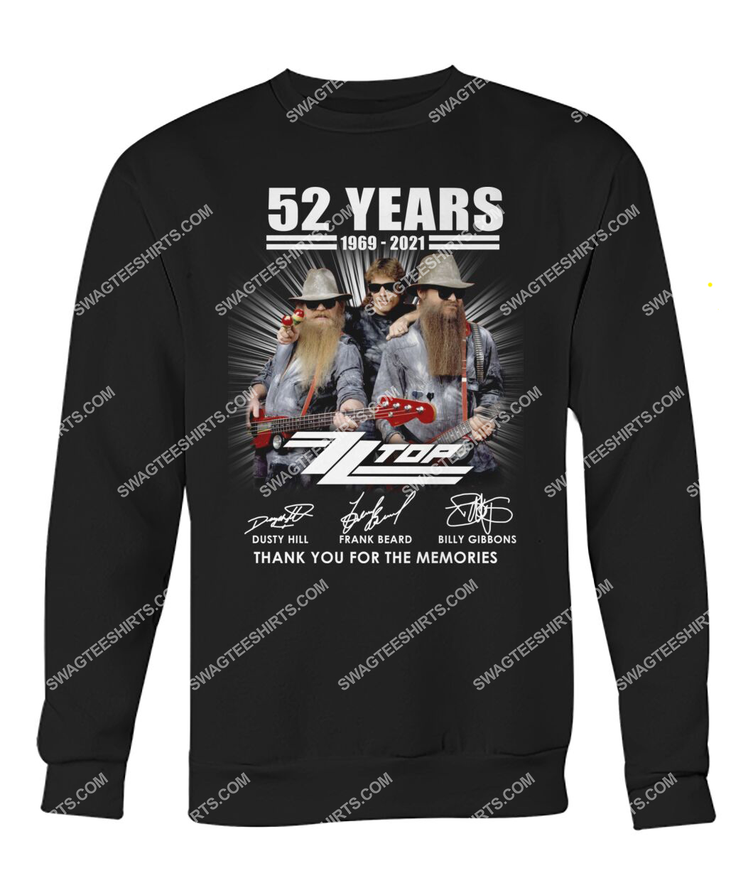 vintage zz top 52 years thank you for memories signature sweatshirt 1