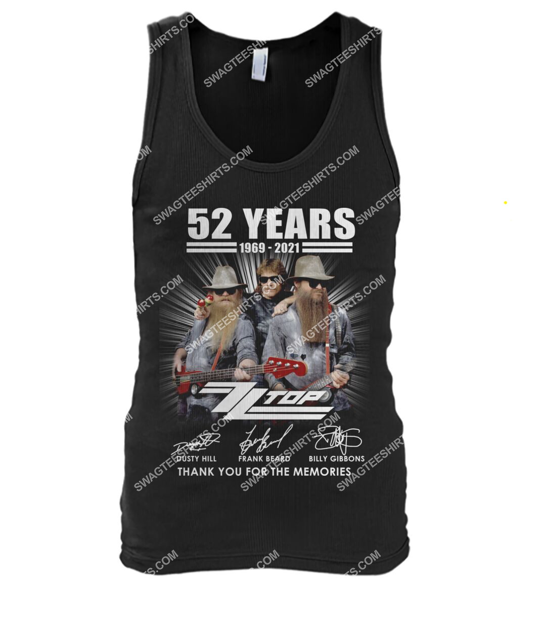 vintage zz top 52 years thank you for memories signature tank top 1