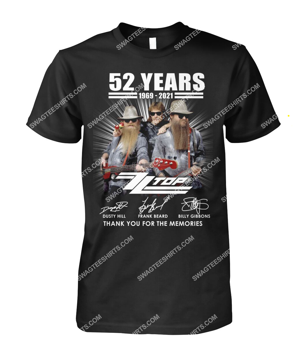 vintage zz top 52 years thank you for memories signature tshirt 1