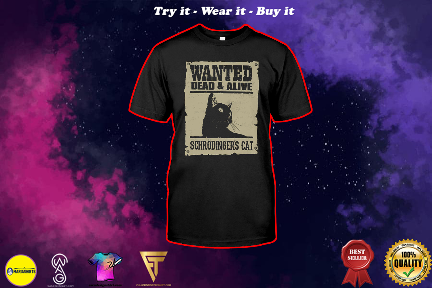wanted dead and alive schroedingers cat shirt