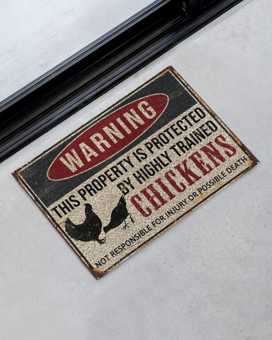 warning this property is protected by highly trained chickens death doormat 2
