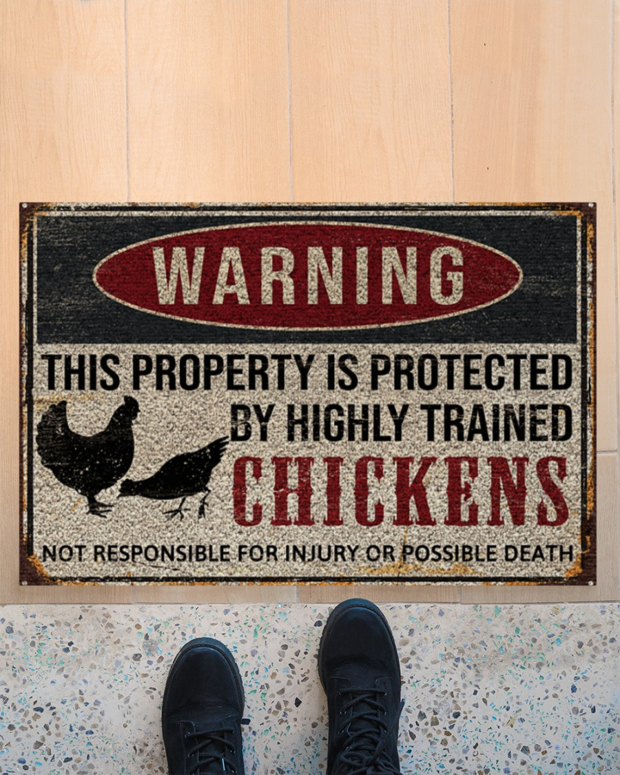 warning this property is protected by highly trained chickens death doormat 4