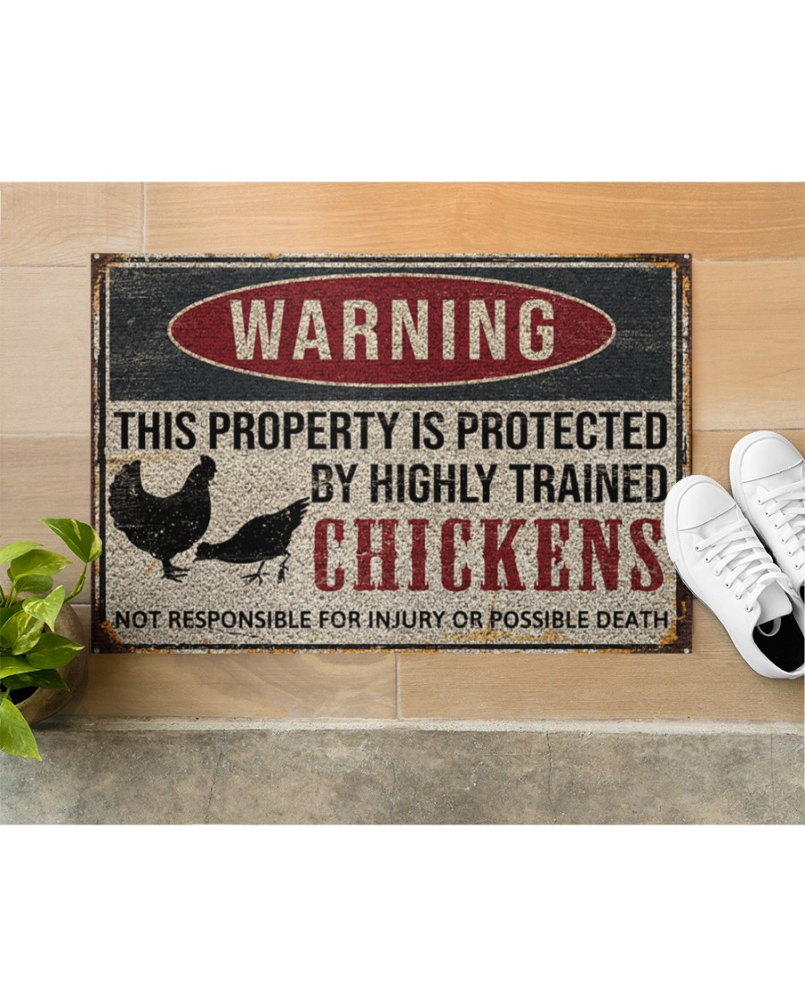 warning this property is protected by highly trained chickens death doormat 5