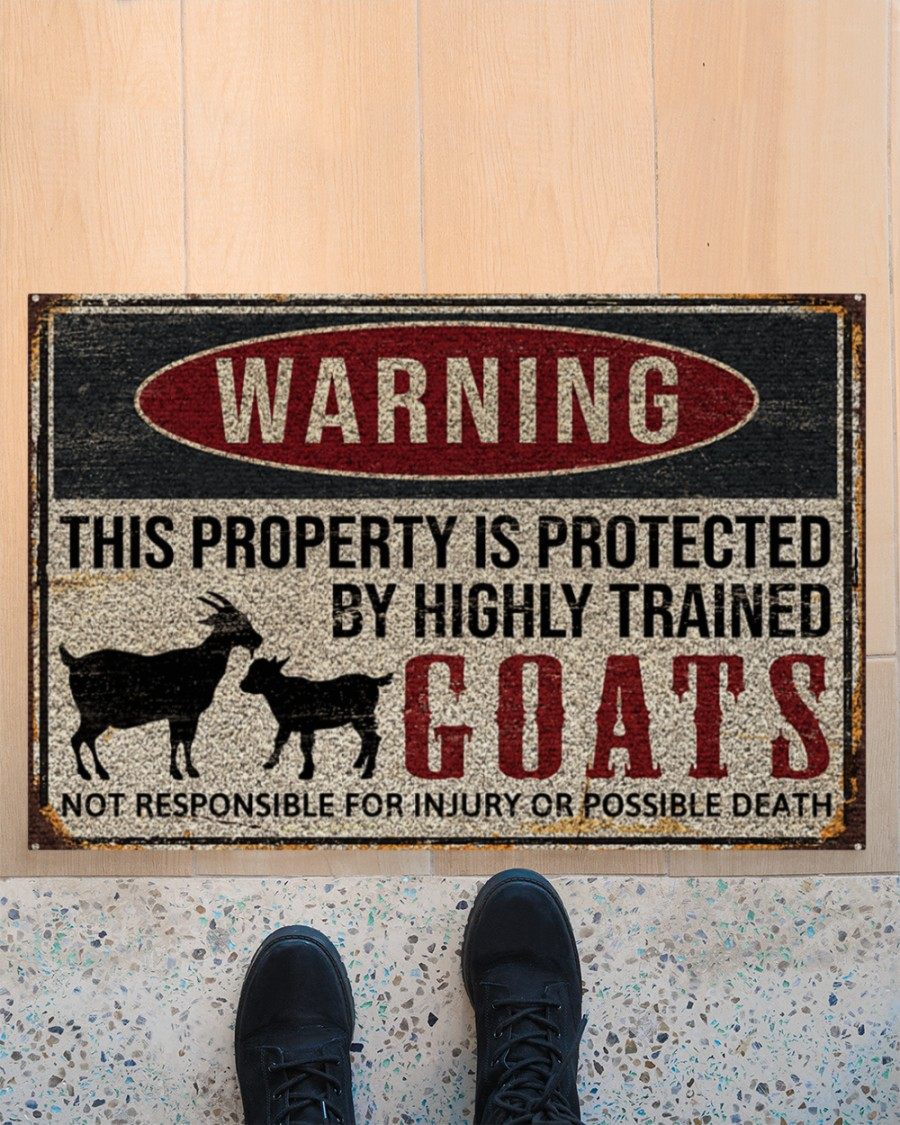 warning this property is protected by highly trained goats full printing doormat 2