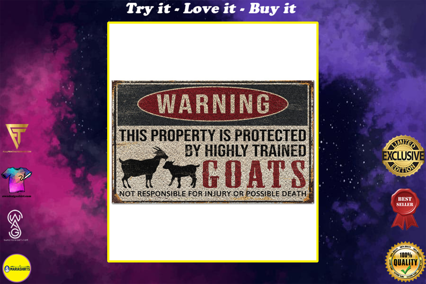 warning this property is protected by highly trained goats full printing doormat