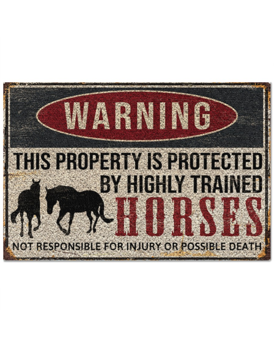 warning this property is protected by highly trained horses full printing doormat 2