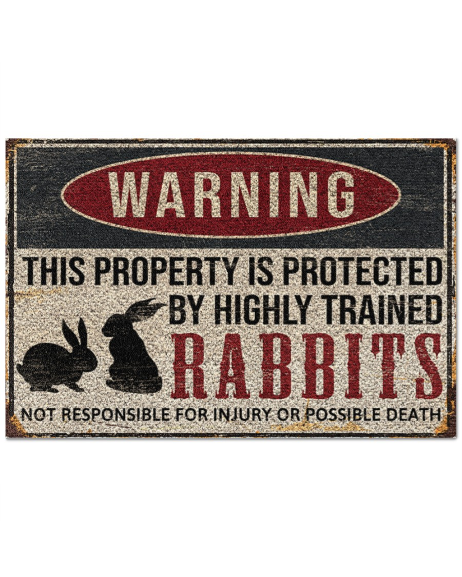warning this property is protected by highly trained rabbits full printing doormat 2