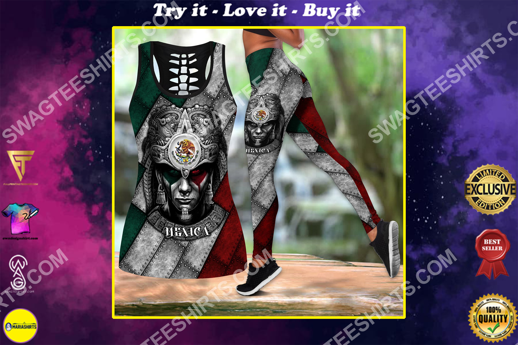 warrior mexica metal all over printed set sports outfit