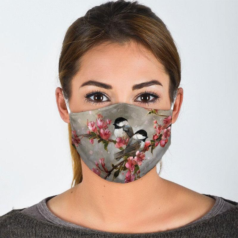 watercolor bird with flowers all over print face mask 2