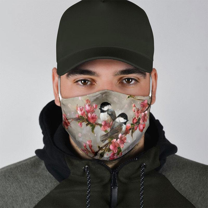 watercolor bird with flowers all over print face mask 3