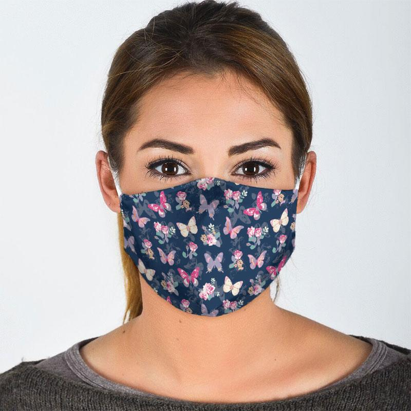 watercolor butterfly all over print face mask 2