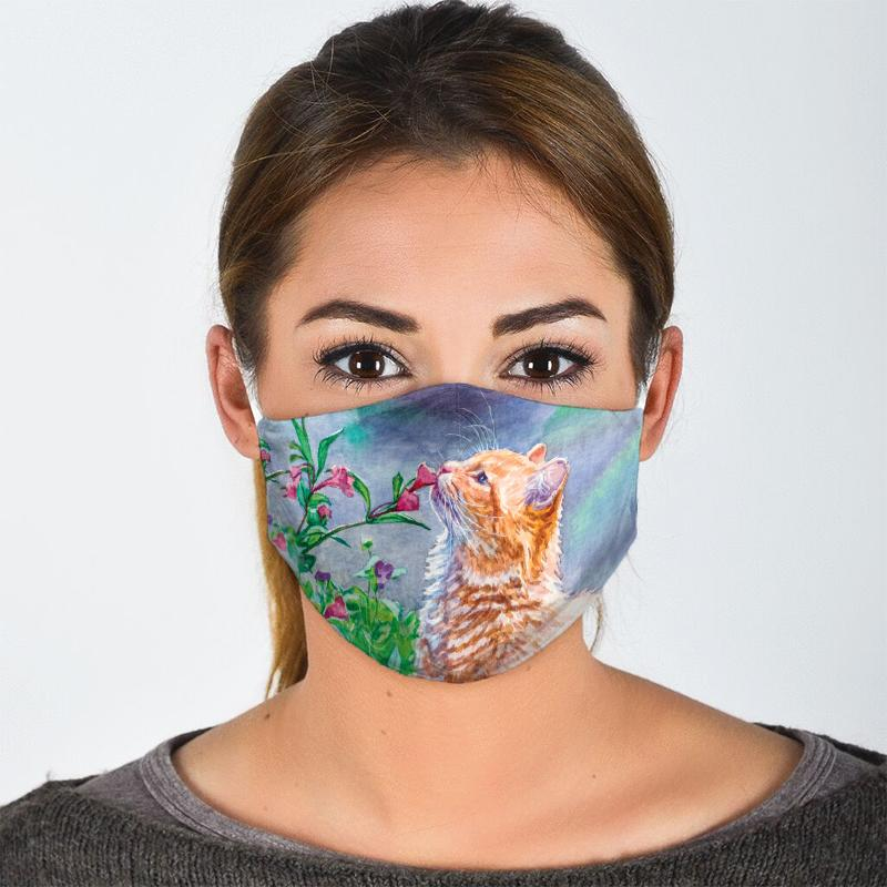 watercolor cat with flowers all over print face mask 2