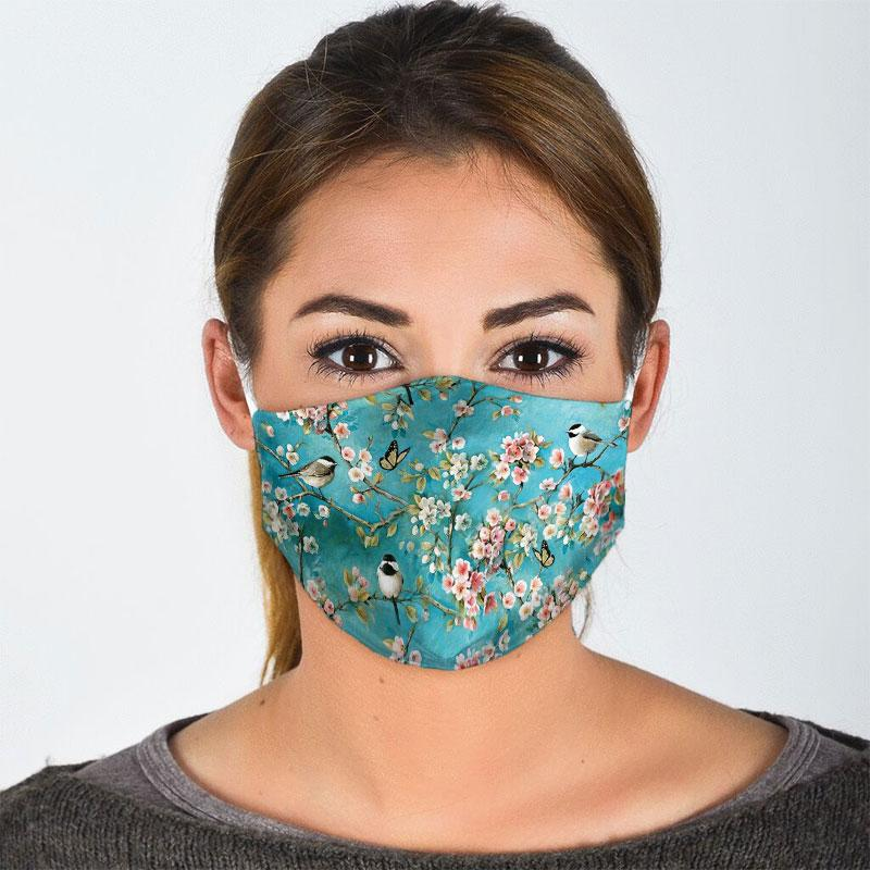 watercolor flower and bird all over print face mask 2