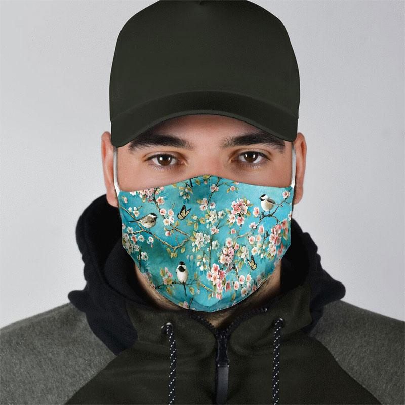 watercolor flower and bird all over print face mask 5