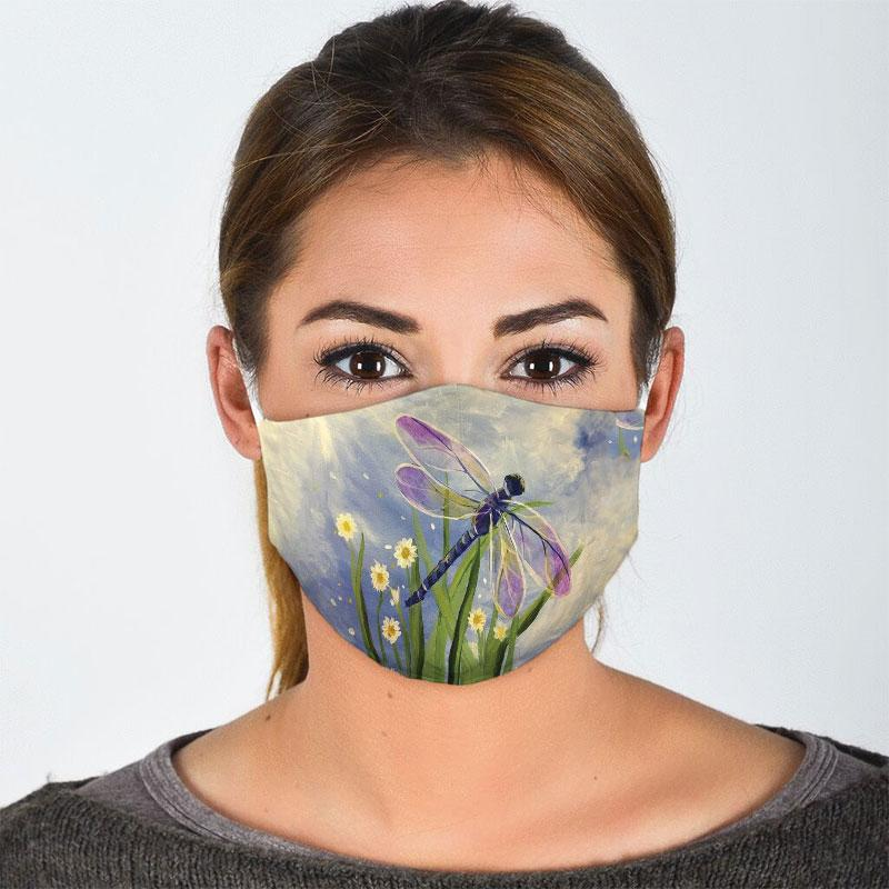 watercolor flower and dragonfly all over print face mask 2