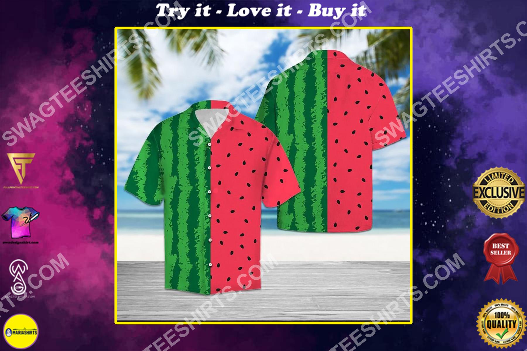 watermelon tropical all over printed hawaiian shirt