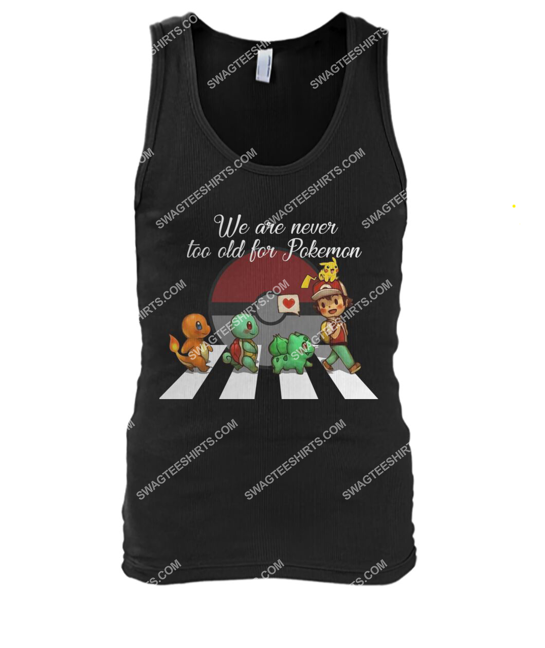 we are never too old for pokemon abbey road tank top 1