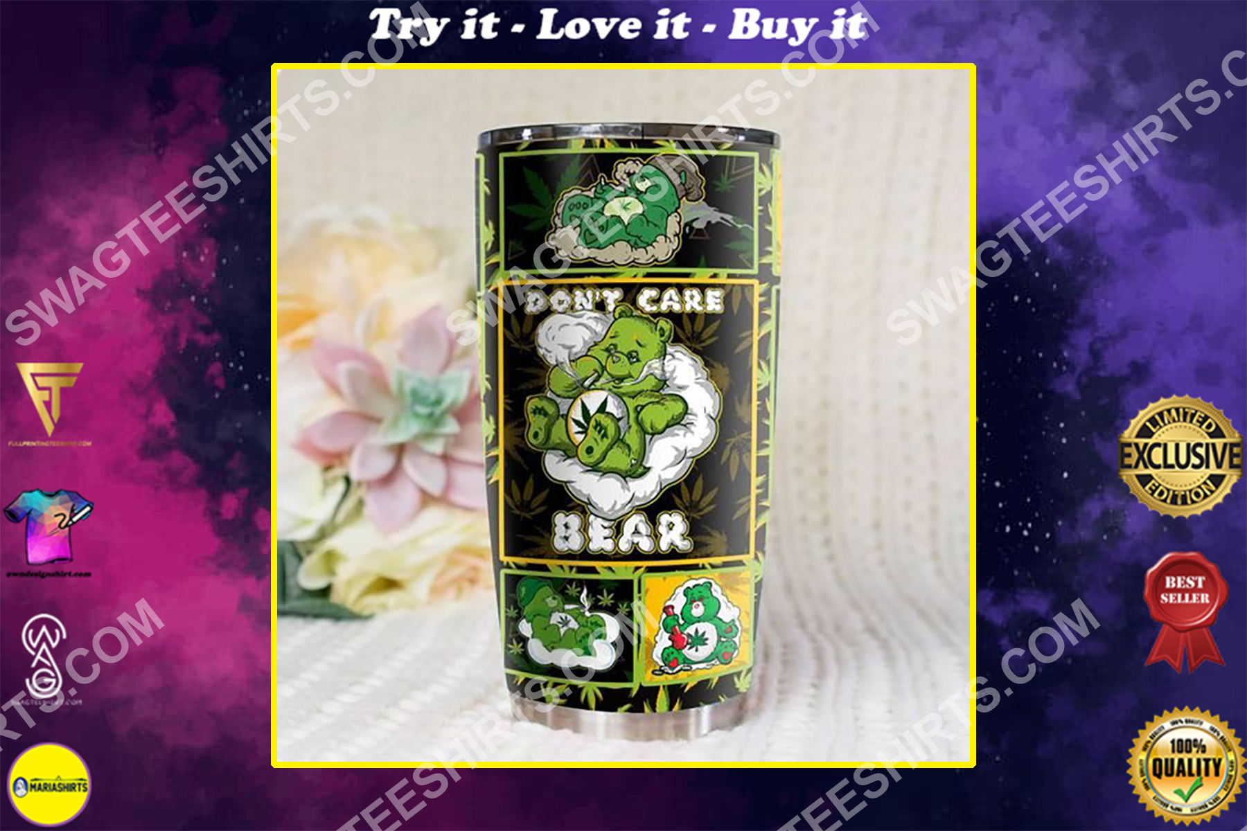 weed dont care bear all over printed stainless steel tumbler