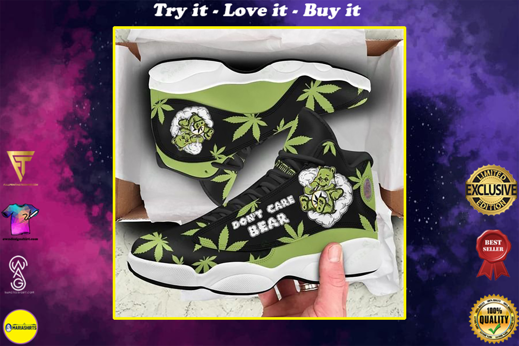 weed leaf dont care bear all over printed air jordan 13 sneakers