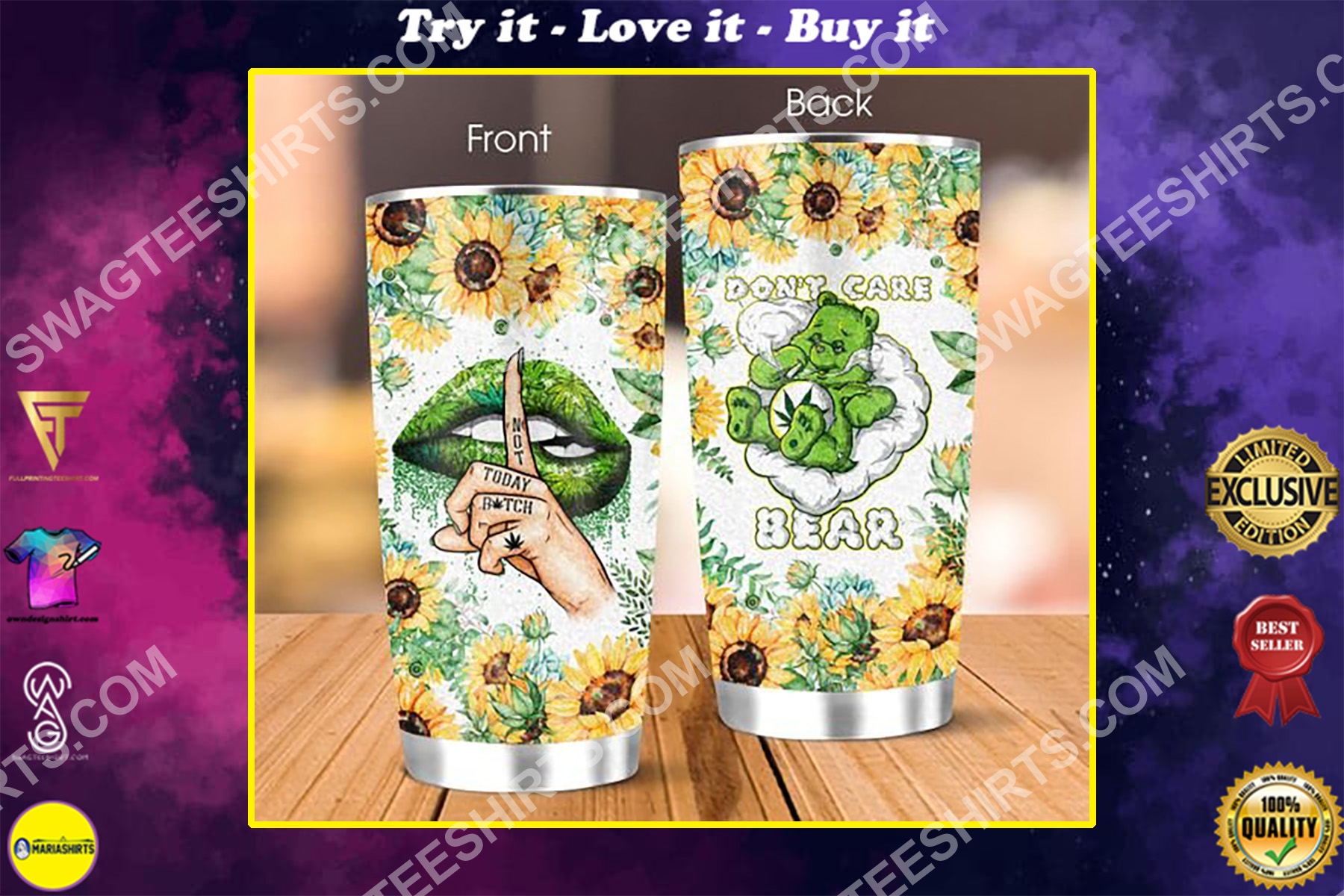 weed leaf dont care bear all over printed stainless steel tumbler
