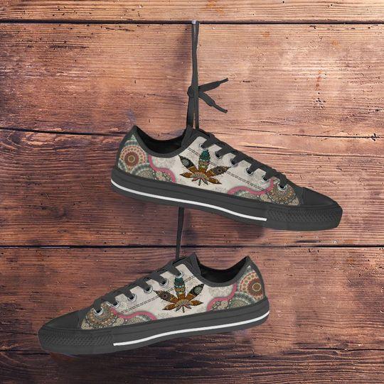 weed leaf full printing low top shoes 3