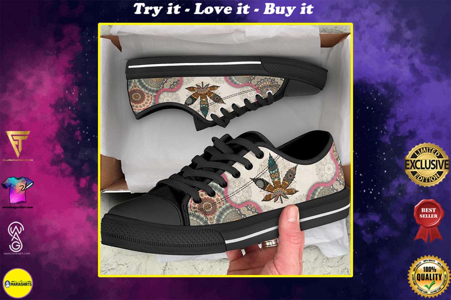 weed leaf full printing low top shoes