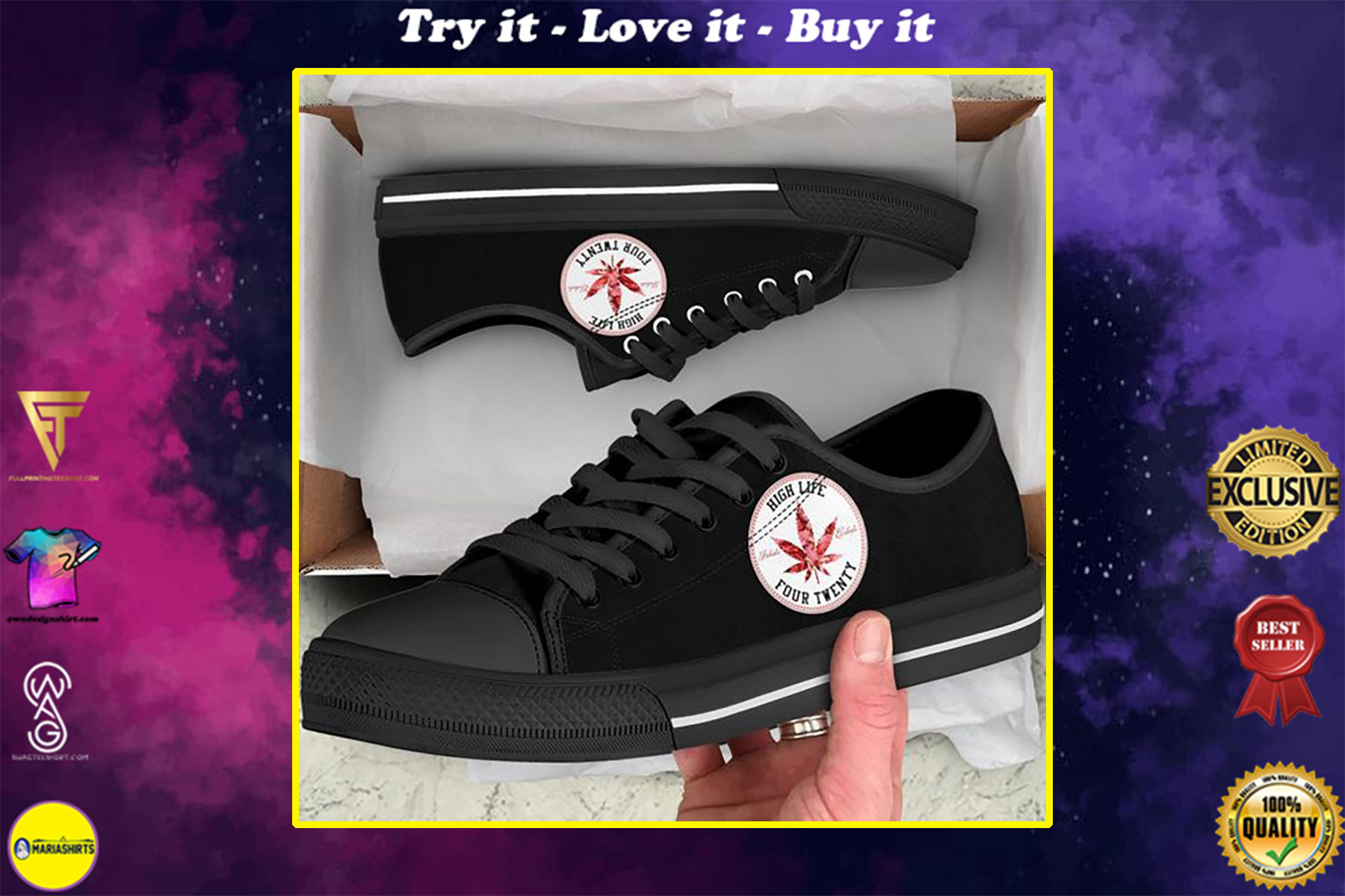 weed leaf high life four twenty full printing low top shoes