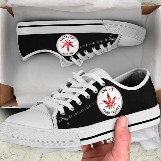 weed leaf high life four twenty low top shoes 2