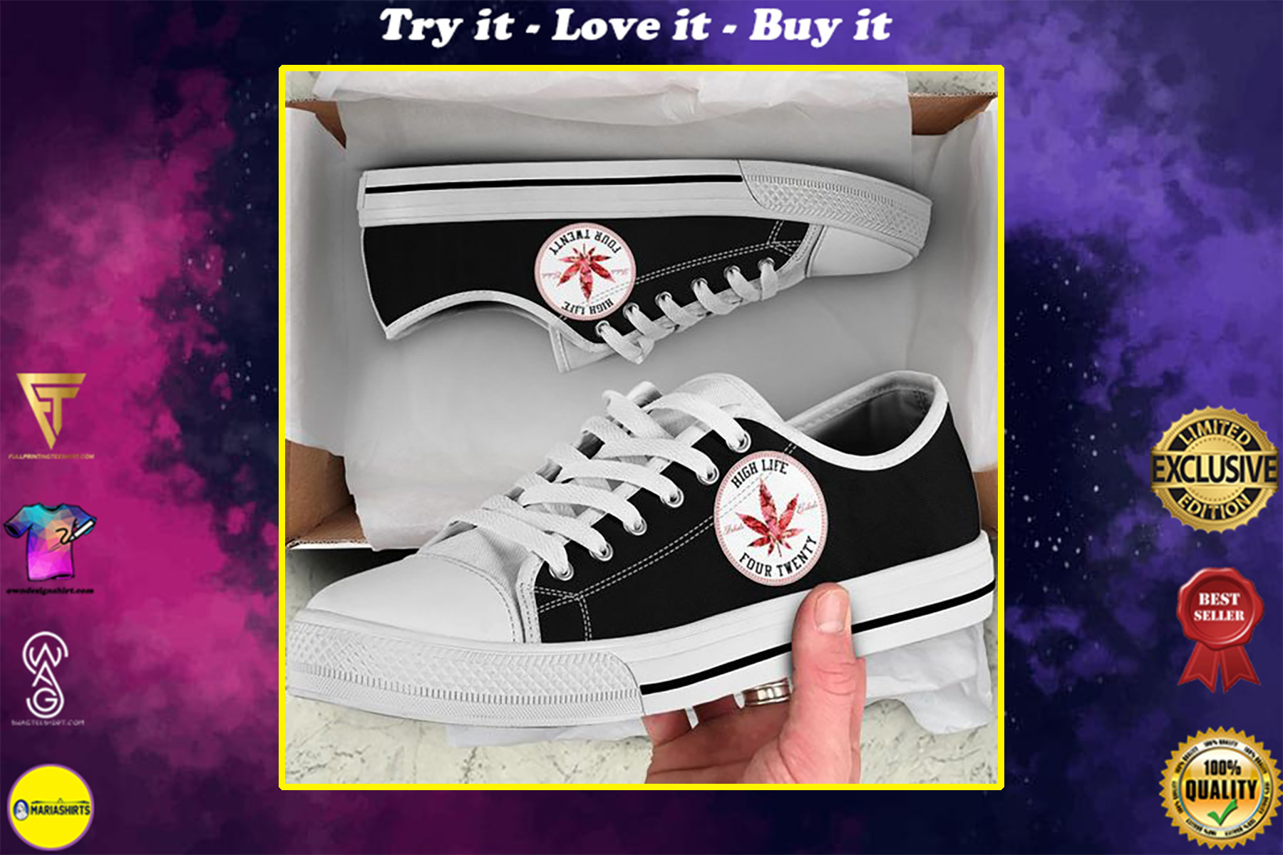 weed leaf high life four twenty low top shoes
