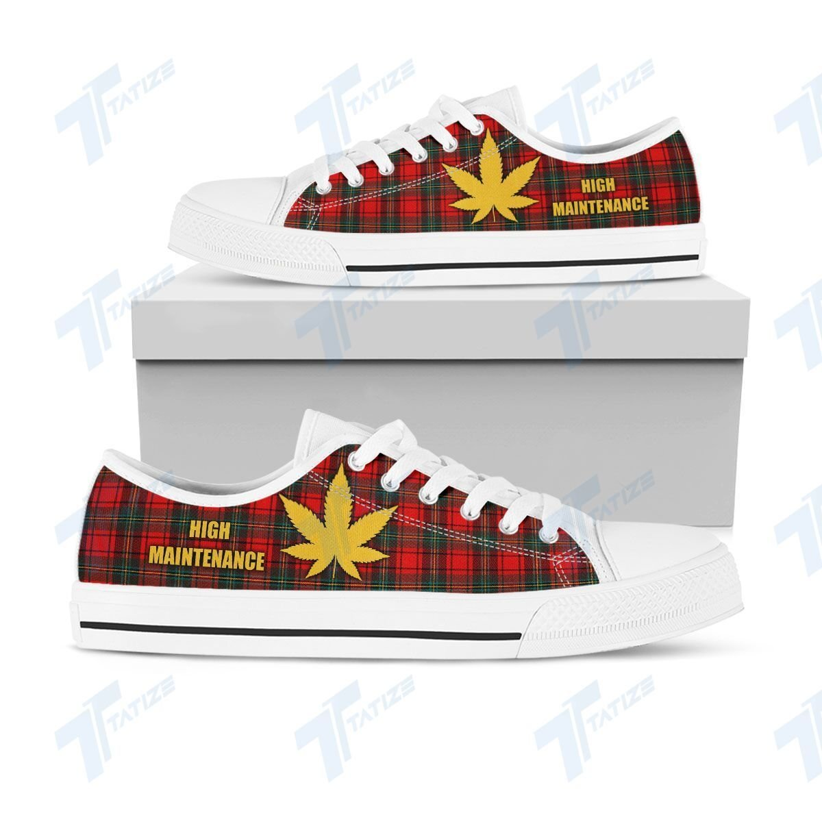 weed leaf high maintenance full printing low top shoes 2