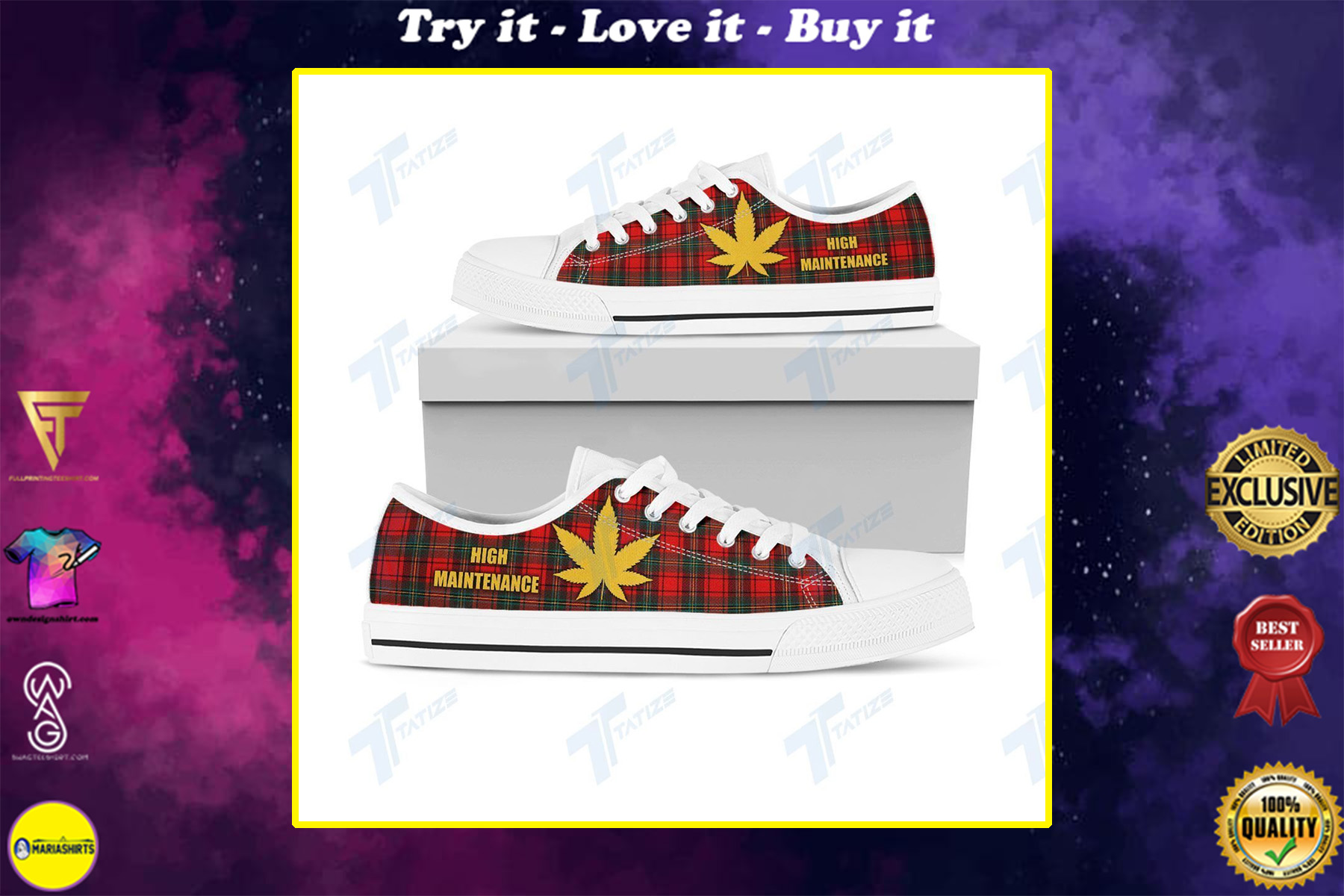 weed leaf high maintenance full printing low top shoes