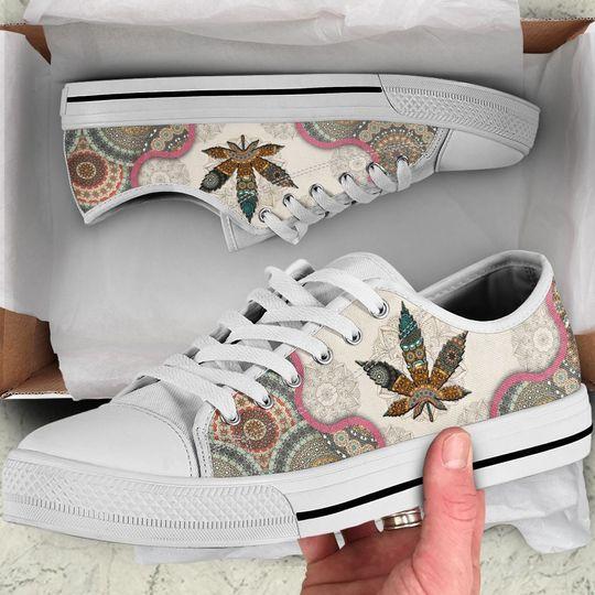 weed leaf mandala full printing low top shoes 2