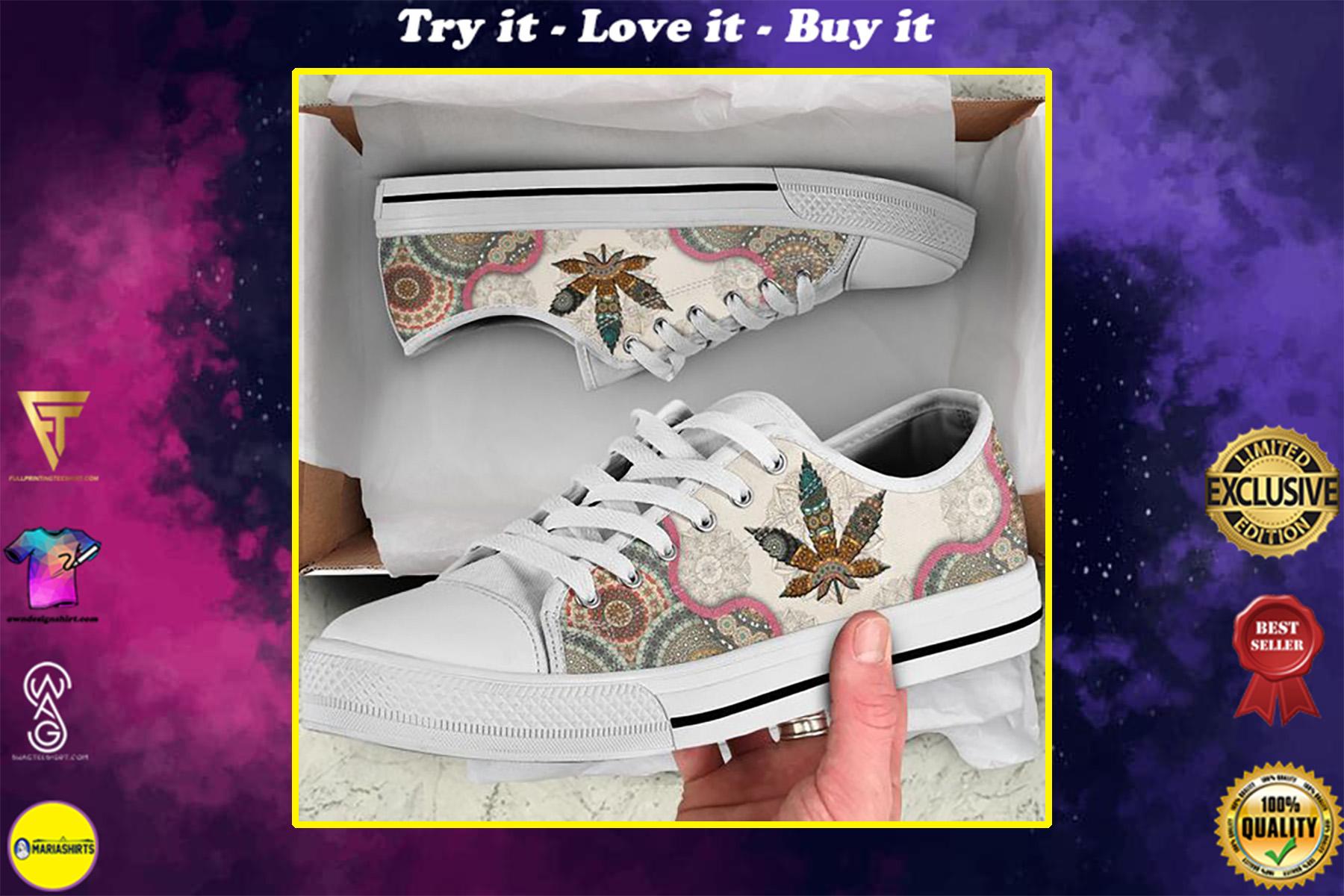weed leaf mandala full printing low top shoes