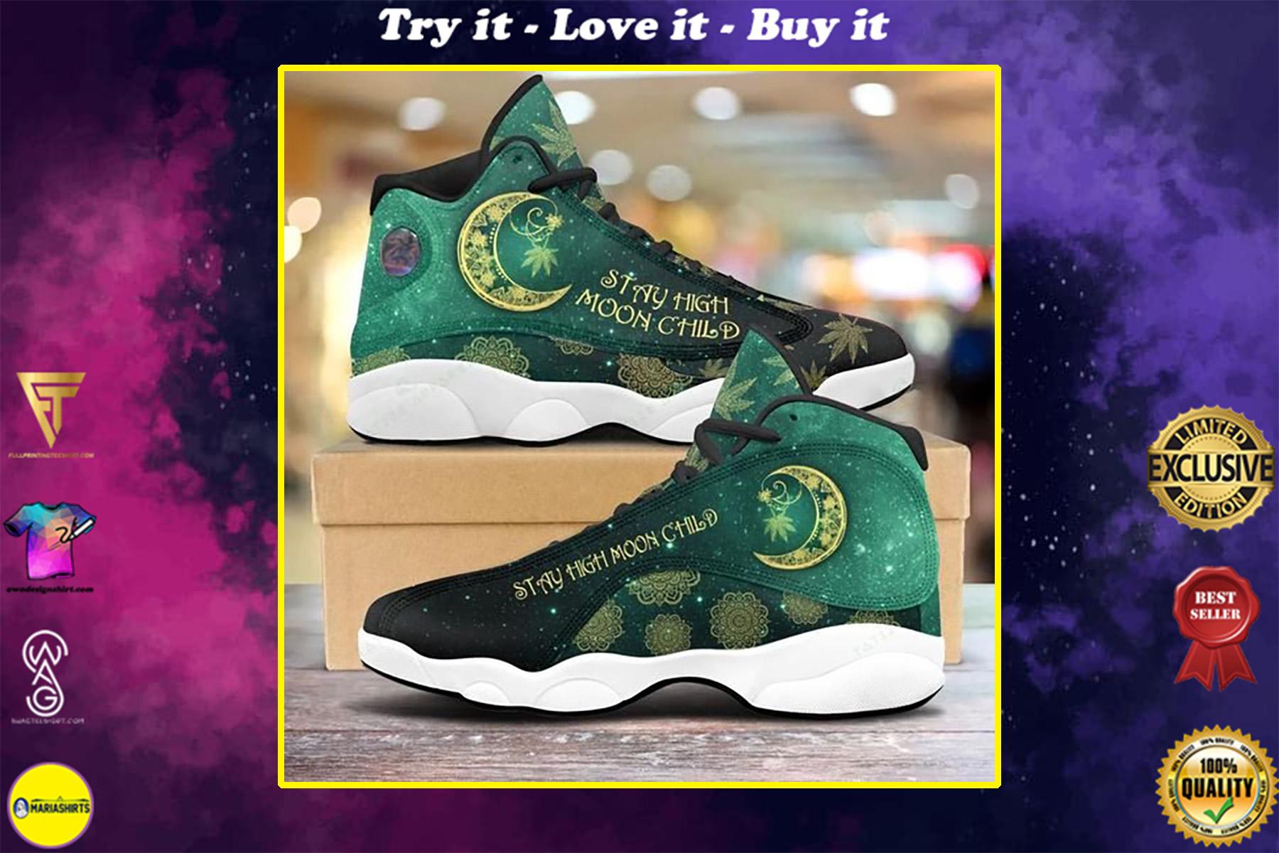 weed leaf stay high moon child all over printed air jordan 13 sneakers