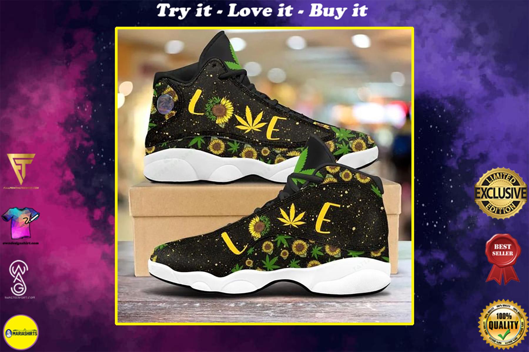 weed leaf sunflower love all over printed air jordan 13 sneakers