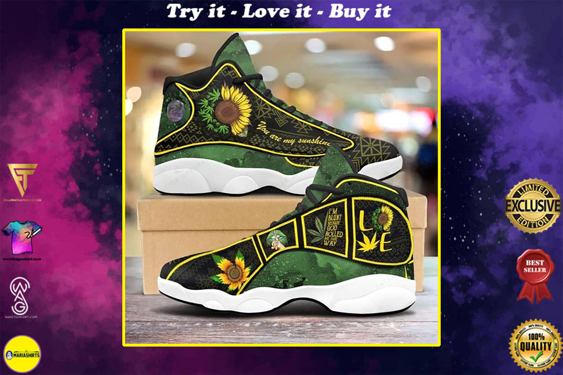 weed leaf you are my sunshine sunflower air jordan 13 sneakers