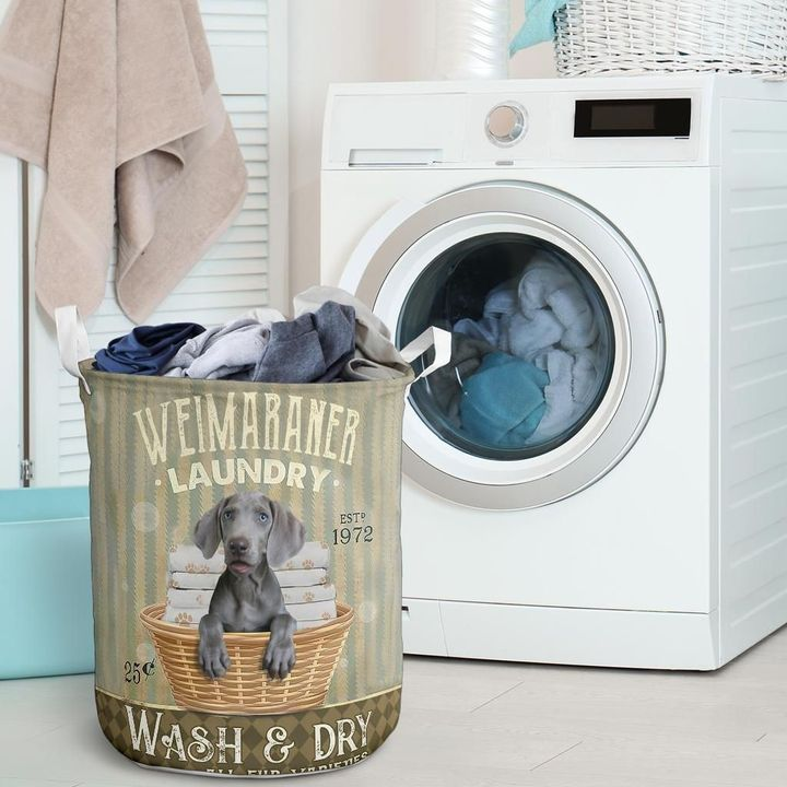 weimaraner wash and dry all over print laundry basket 2