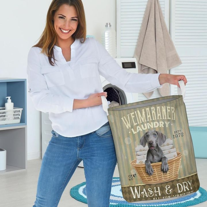 weimaraner wash and dry all over print laundry basket 3