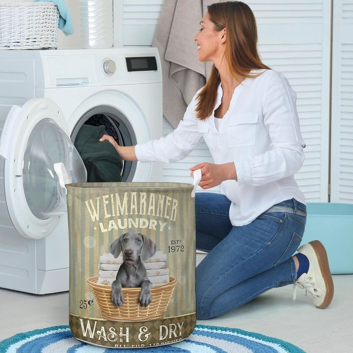 weimaraner wash and dry all over print laundry basket 4
